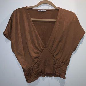 Zara Brown Crop Top